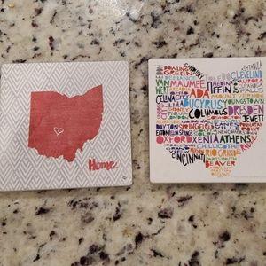 Set of 4 Ohio drink coasters